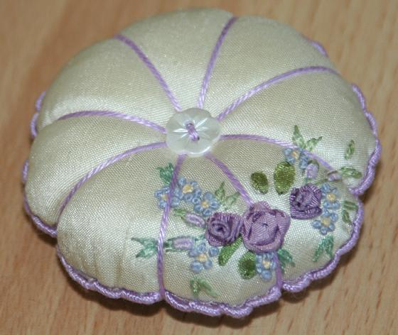 lilac and cream silk rose pincushion